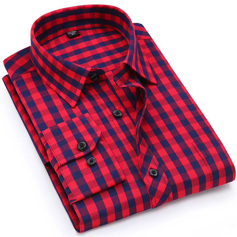 Men's Casual Long Sleeve Standard-Fit Checkered Plaid Shirt Single Pocket Over Left Chest Comfortable Cotton Thin Dress Shirts