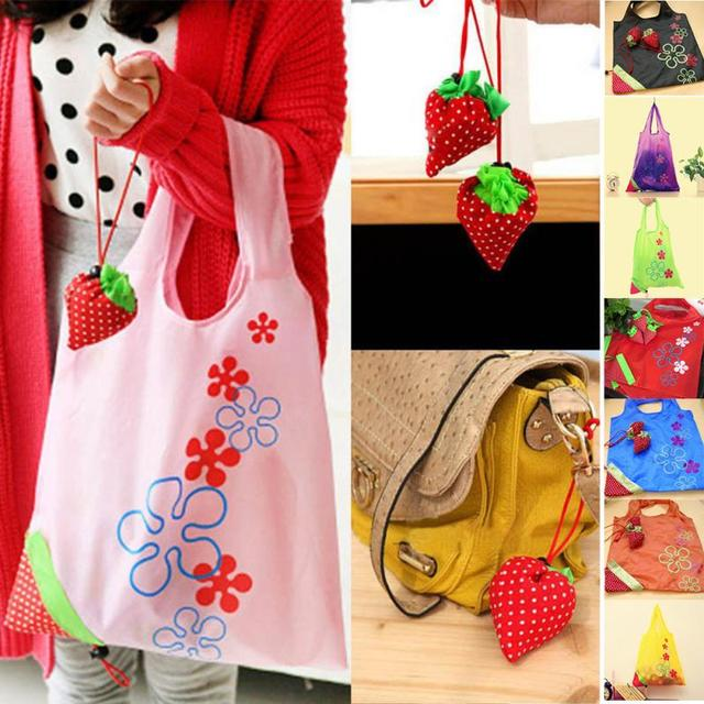 c43ed6ef72 1Pcs Floral Folding Reusable Grocery Polyester Bag Large Strawberry  Shopping Cute Travel Tote Eco Handbag