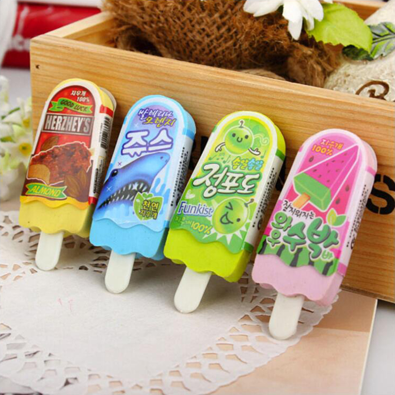 Ice Cream Pencil Rubber Eraser Different Colored Mixed Soft Office Stationery And School Supplies Eraser 1PCS