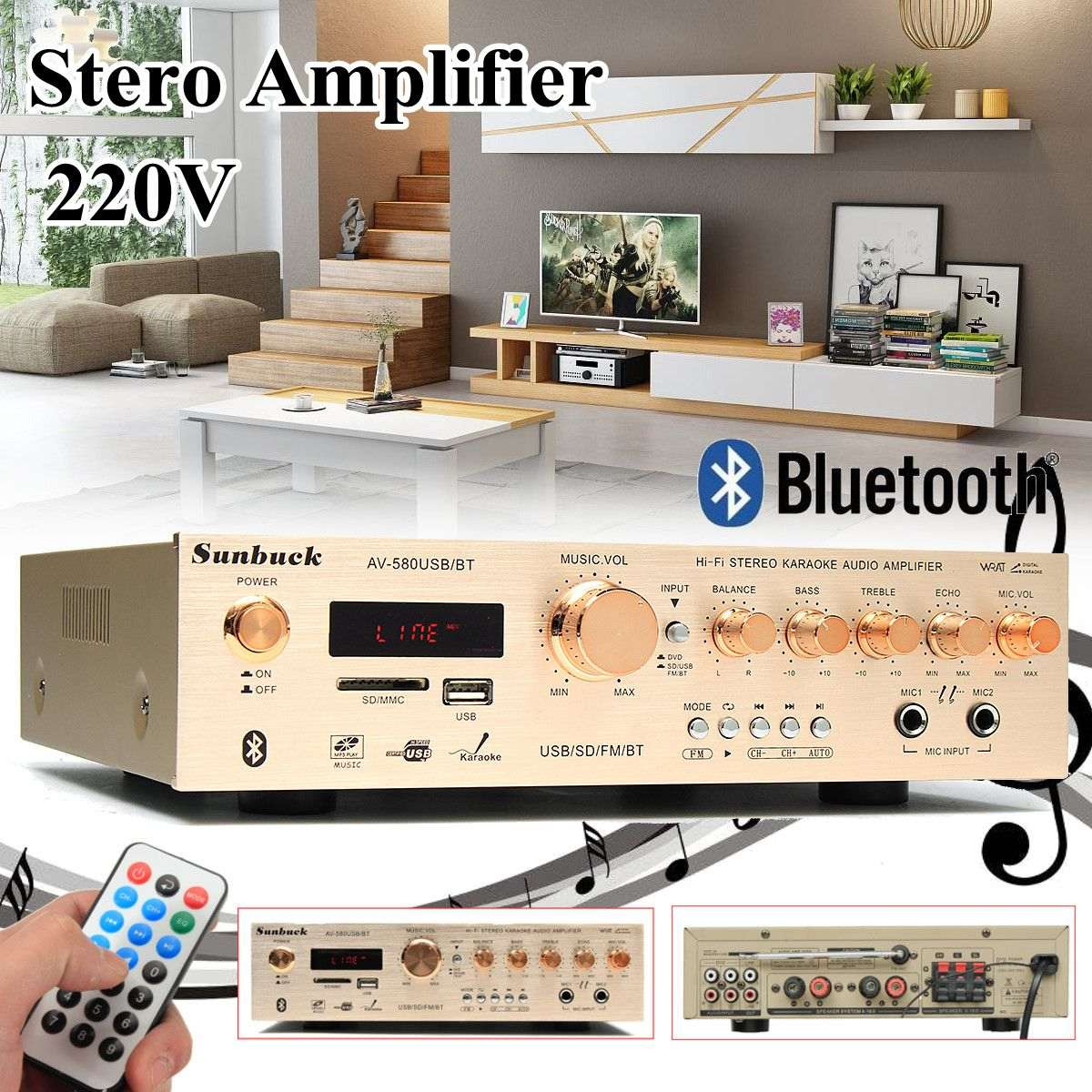 580BT 5CH 220V Stereo Amplifier Sound Mode Audio Music Booster Card Remote Control Built-in Bluetooth Amplifier For home home car cd player 4 channel audio amplifier with remote control and bluetooth function good sound quality