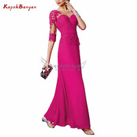 Applique Chiffon Long Dress Mother of The Groom Half Sleeves Lace up Mother of Bride Dresses Mothers Dresses for Wedding
