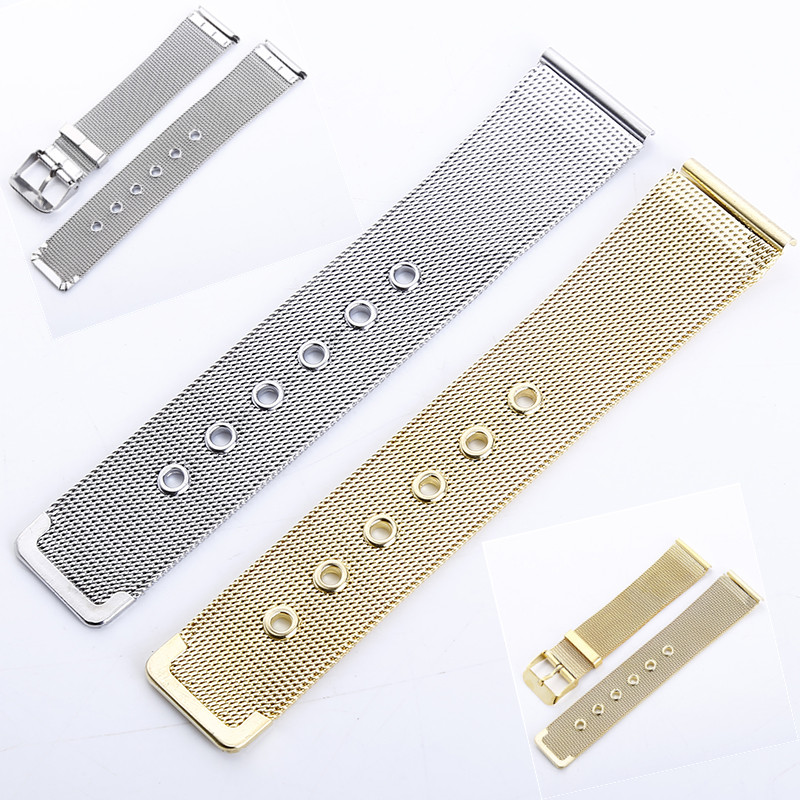 20mm Ultra-thin Mesh Milanese Loop Stainless Steel Bracelet Wrist Watch Pin Buckle Strap Wrist Gold Silver Free Shiping
