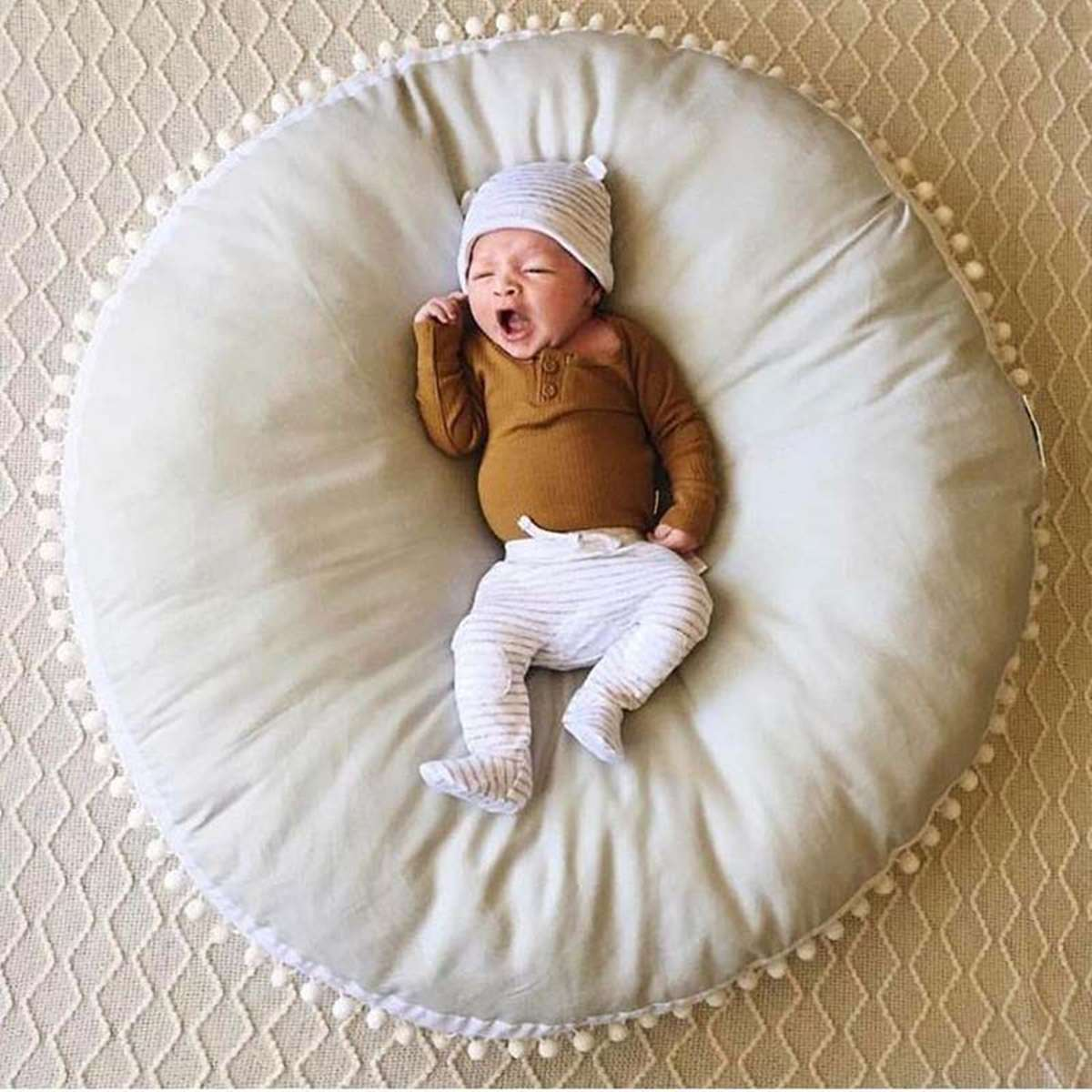 2019 Baby bean bag chair Cotton Round Soft Play Mats Crawling Pad Home Children Kids Room Decor 90*90cm Yellow Grey