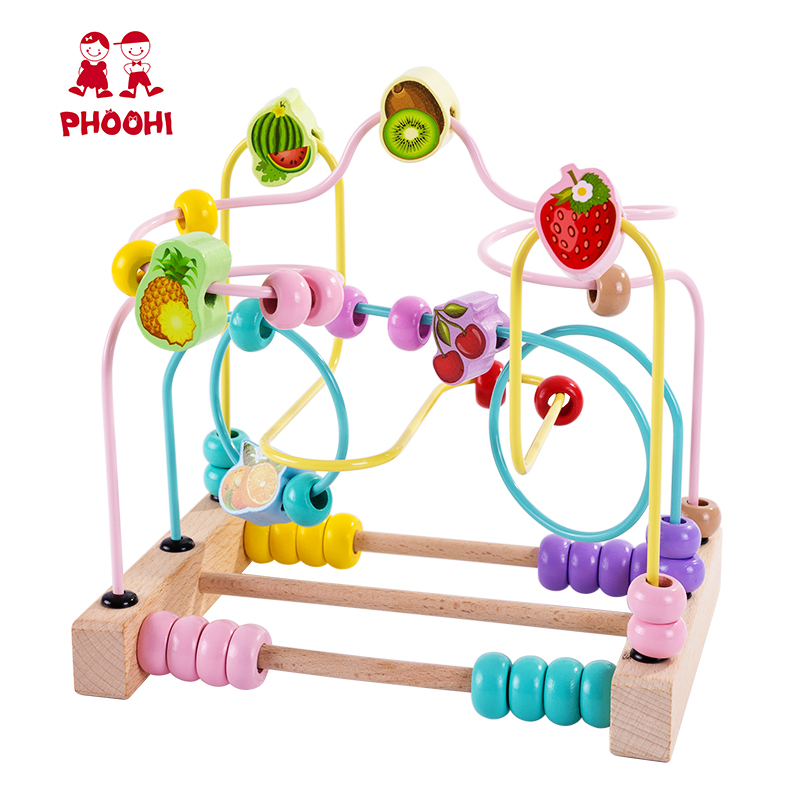 Wooden Bead Maze Toy Montessori Fruit Roller Coaster Educational Baby Math Toy For Kids