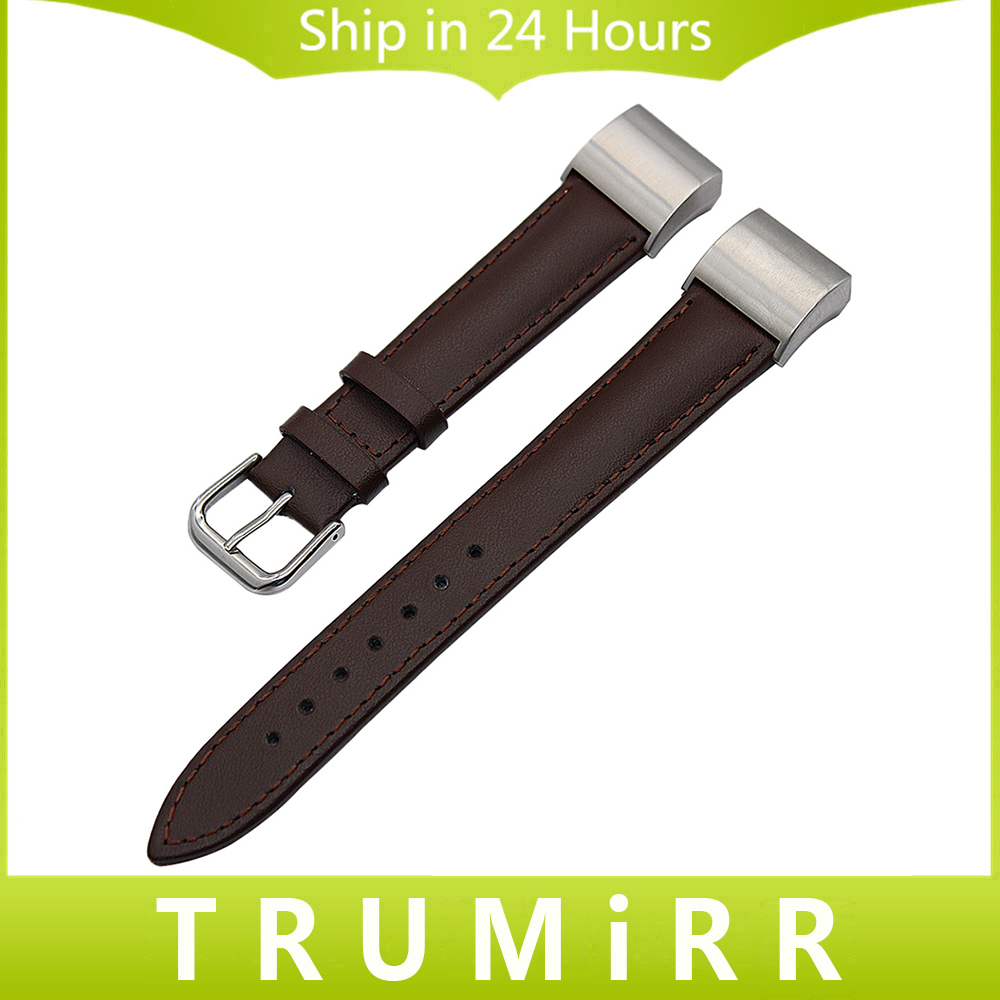 Genuine Leather Watchband + Adapters for Fitbit Charge 2 Watch Band Stainless Steel Buckle Strap Wrist Belt Bracelet Black Brown genuine leather watchband for longines men leather watch strap for women metal buckle watch band belt retro watch clock band