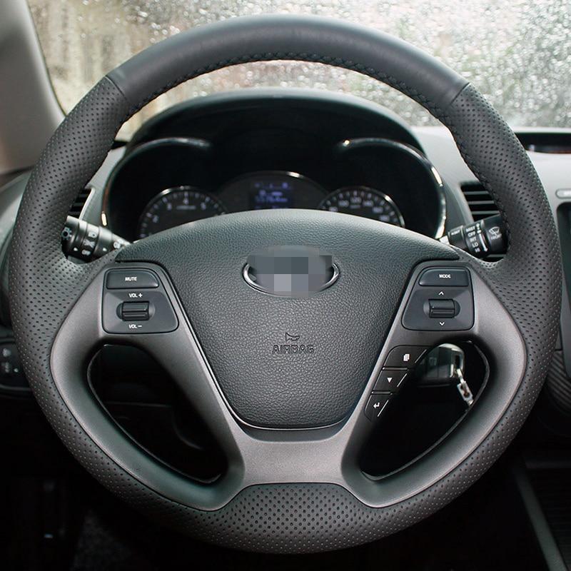 Cubierta del volante cosida a mano de cuero artificial para Kia K3 2013 Kia K2 2015 Kia Ceed Cee'd 2013 2014 Kia Cerato 2013-2015