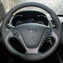 Artificial  Leather Hand-stitched Steering Wheel Cover for Kia K3 2013 Kia K2 2015 Kia Ceed Cee'd 2013 2014 Kia Cerato 2013-2015