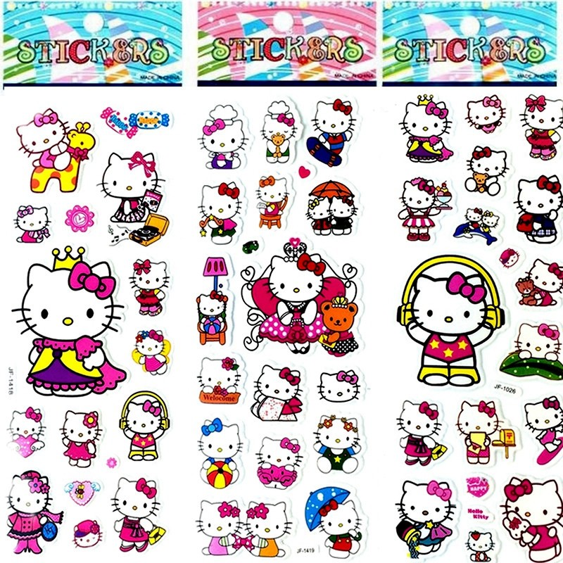 6 shhet diy hello kitty sticker for kids rooms home decor diary notebook label decoration toy pikachu 3d sticker in stickers from toys hobbies on