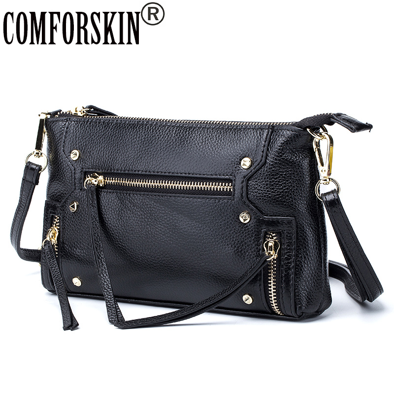 COMFORSKIN Designer Cow Leather Soft Stylish Women Messenger Bag 2017 Hot Sales European And American Travelling Shoulder Bags