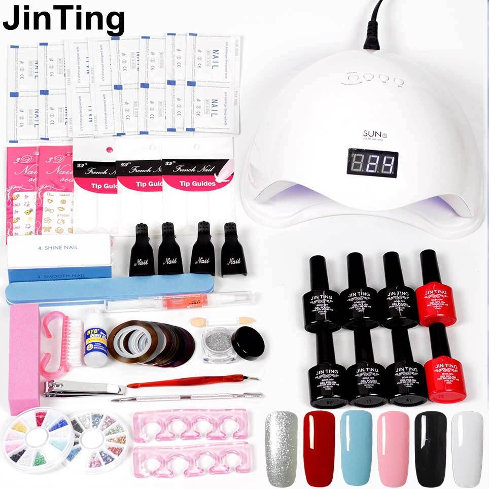 JinTing nail art set UV LED LAMP Dryer 6 Color Gel Nail Polish Set ...