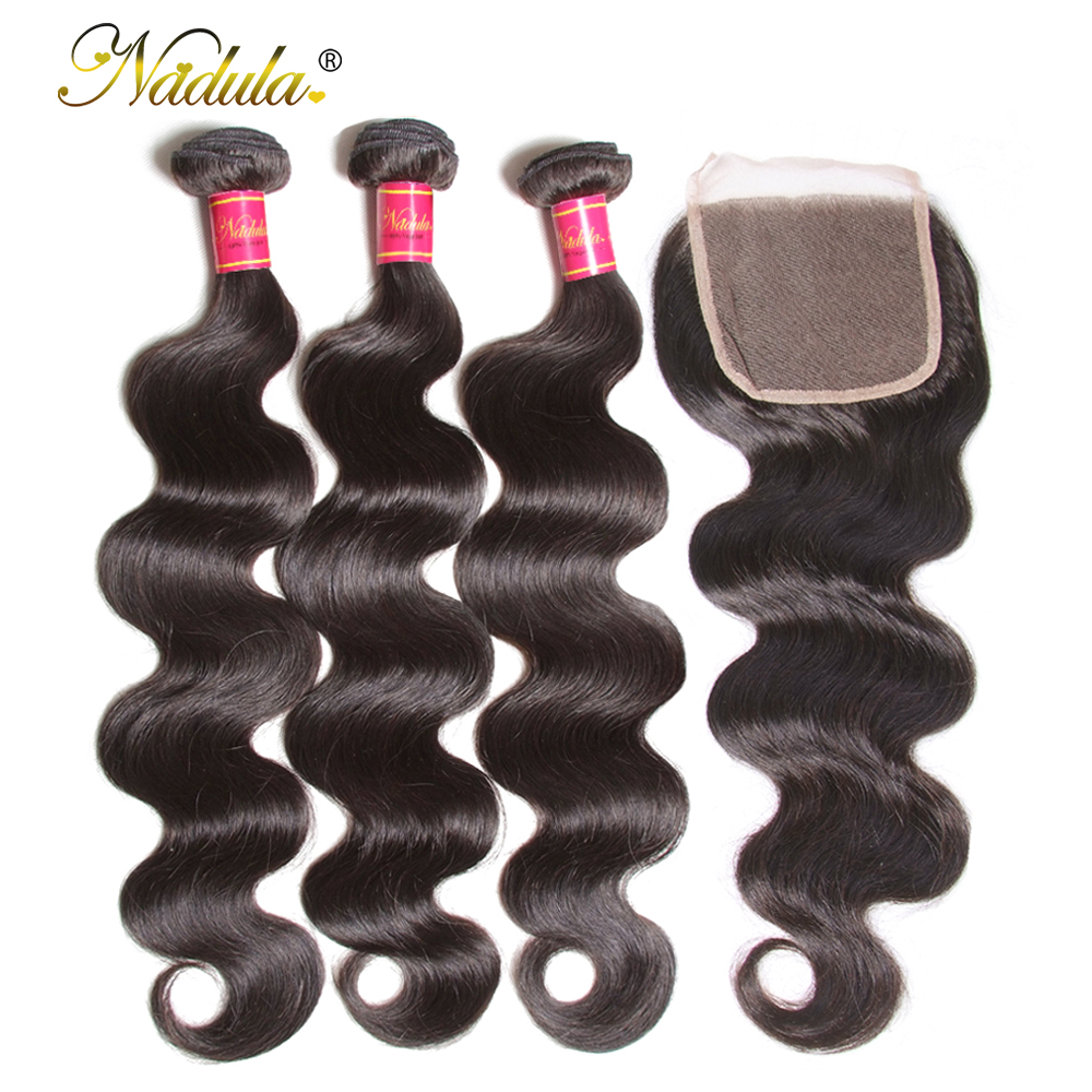 Nadula Hair Brazilian Body Wave Bundles With Closure 4*4 Lace Closure Brazilian Hair Weave Bundles With Closure Human Remy Hair