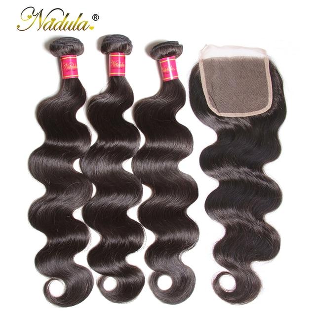 Nadula pelo brasileño paquetes de onda del cuerpo con cierre 4*4 Cierre de encaje brasileño de la armadura del pelo paquetes con cierre humanos cabello Remy