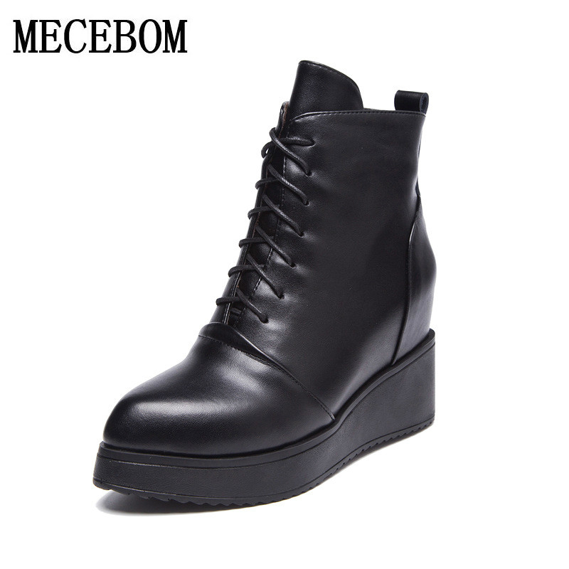 ФОТО Women Ankle Boots 2017 Spring Fall Genuine Leather Lace Up Shoes Punk White Black Colors Plus Size 34-40 zapatos mujer 039W