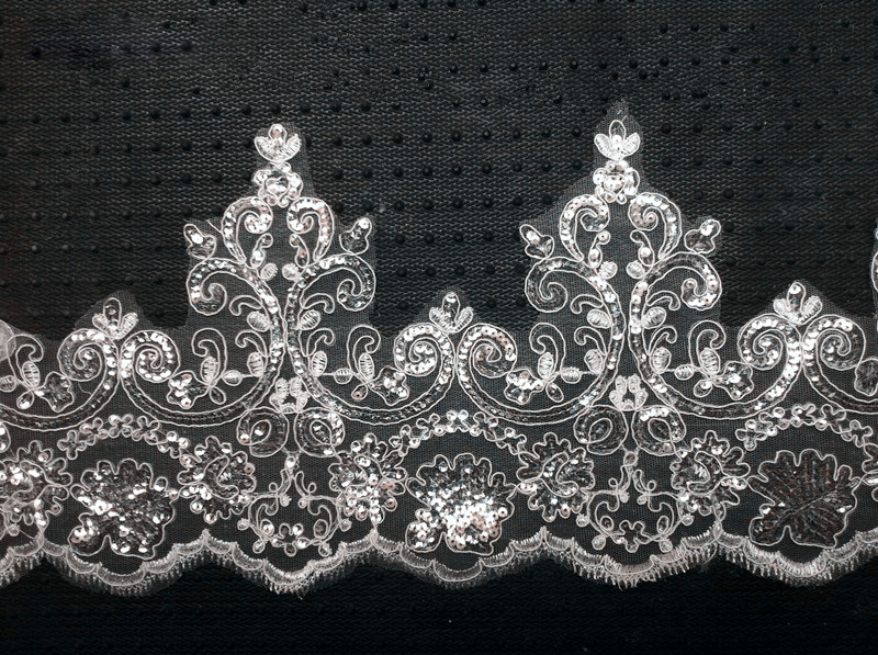 8Yards Width 18cm White Guipure Lace Fabric Luxury Sequins Lace Trim - Arts, Crafts and Sewing - Photo 1