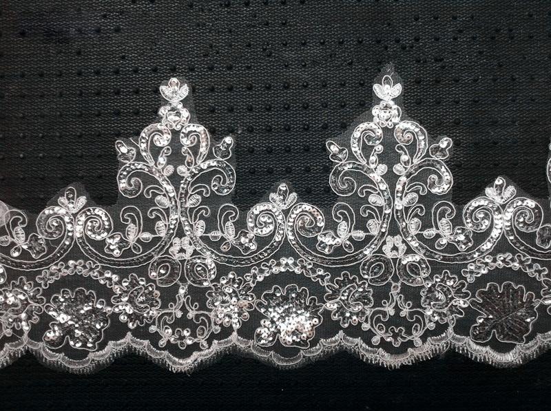 8 Meter Lebar 18 cm Putih Kain Renda Guipure Payet Mewah Lace Potong - Seni, kerajinan dan menjahit