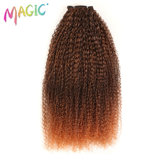 MAGIC For Black Women Kinky Curly Hair Weaving 28-38Inch Synthetic Hair Extension Ombre Color Heat Resistant Fiber Hair Weave
