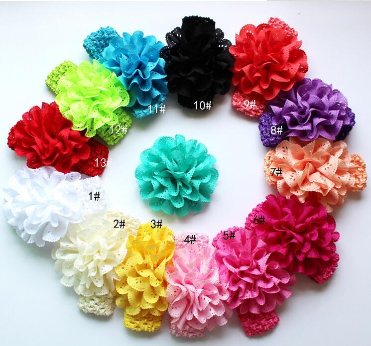 colores pulgadas ojal tela flores diadema para nias nios nias accesorios para el cabello