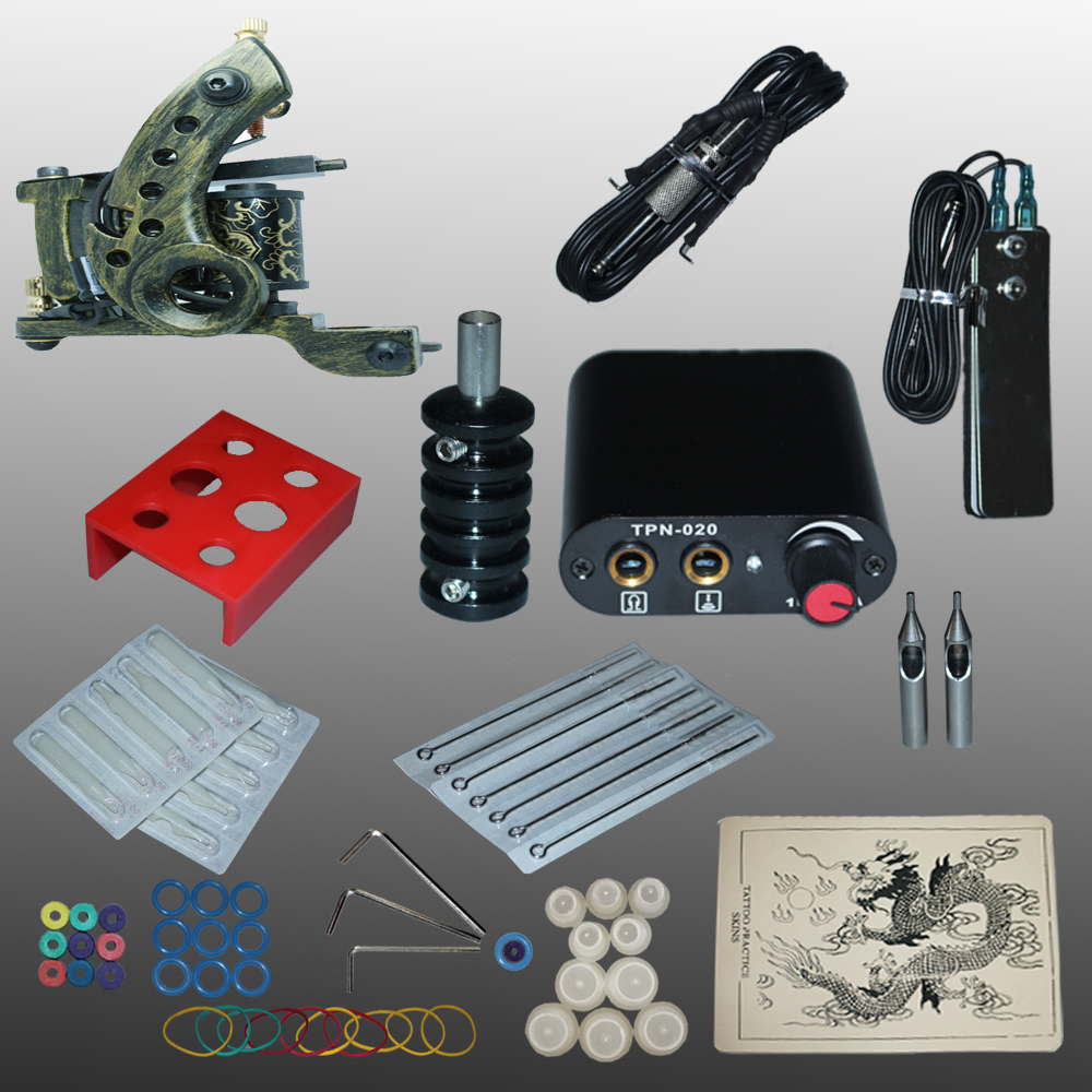 ФОТО New Arrival 1 set Tattoo Kit Power Supply Gun Complete Set Equipment Machine Wholesale 1110404kit