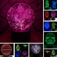 Star War Fans Gifts Death Star Trek Atmosphere 7 Colors Gradient 3D Lamp Bedroom LED RGB