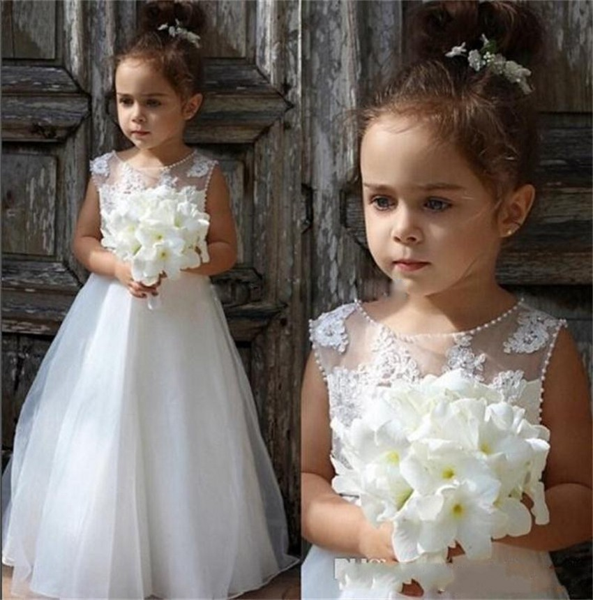 2017 New Flower Girl Dresses White/Ivory Beading Sleeveless O-neck Formal A-Line Communion Gowns for Junior Weddings Vestidos new white ivory nice spaghetti straps sequined knee length a line flower girl dress beautiful square collar birthday party gowns