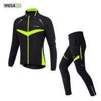 Wosawe熱冬風サイクリングジャケット防風バイク自転車コート服長袖サイクリングセットジャージーパンツセット
