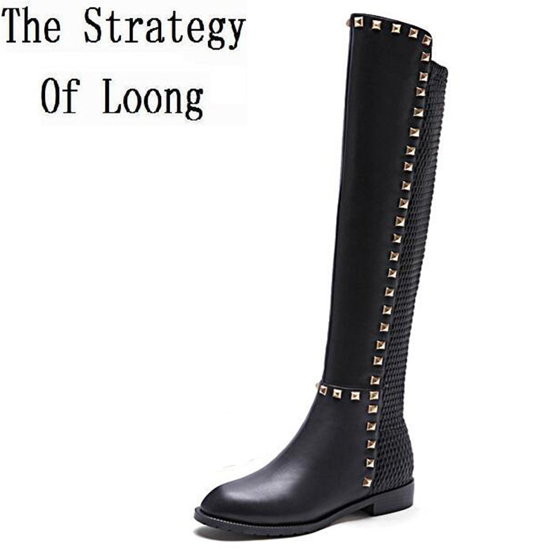 Full Grain Leather Fashion Rivets Flat Knee High Boots Real Leather Grace Round Toe Long Boots Short Plush Thick Warm Boots 1216 krazing pot 2018 fashion full grain leather solid round toe rivets decoration thigh high boots streetwear riding knee boots l1f3