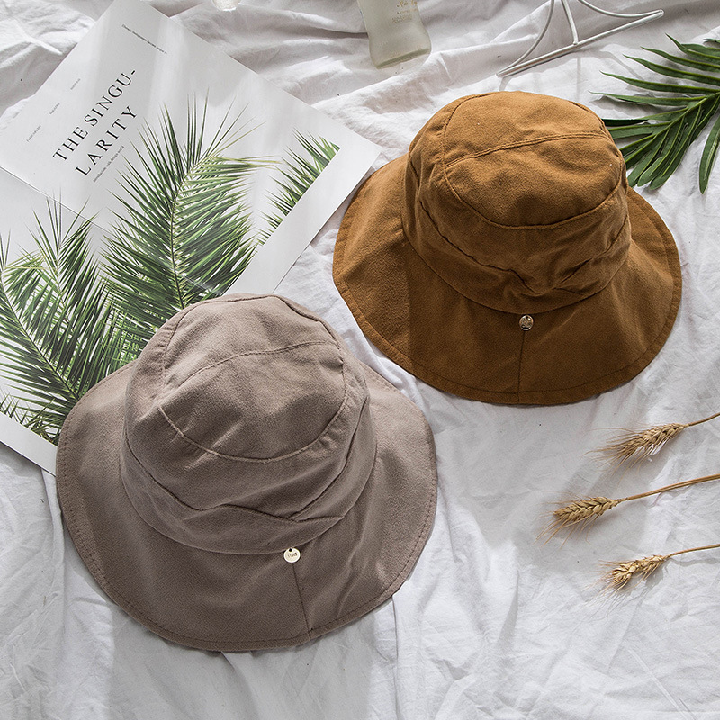 2018 autumn and winter new bucket hat solid color suede retro style sequins basin hat all match folding women's hat