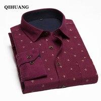 QIHUANG Plus Size 8XL 9XL 10XL Casual Men Shirt With Long Shirt Fashion Navy Print Cotton