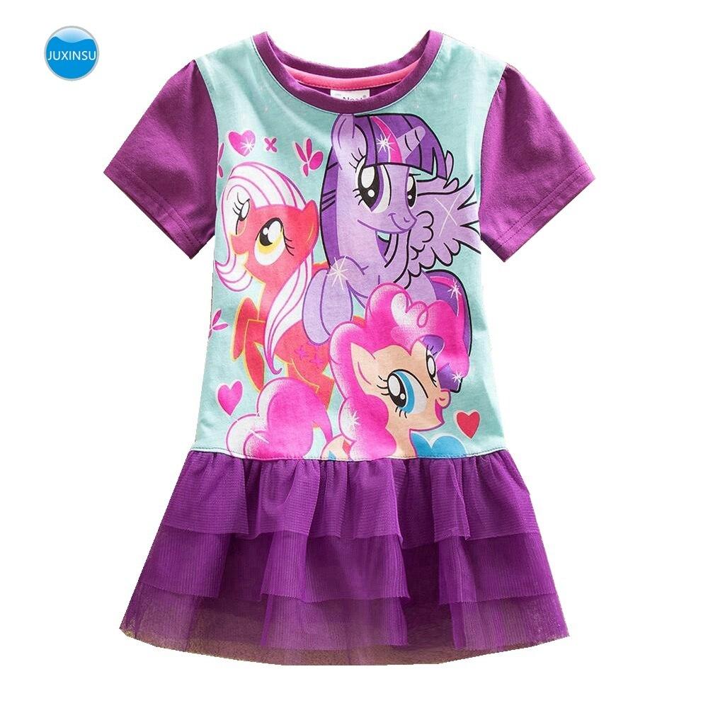 JUXINSU Girls Short Sleeve Dress Little Pony Summer Lace Short Dress Princess Cotton Kids Cartoon Print Girl Dress LU3 Dresses    - AliExpress