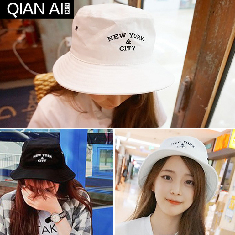 Basin of south Korean hat embroidery street dance flat-topped fisherman hat shading cloth bucket hat pastoralism and agriculture pennar basin india