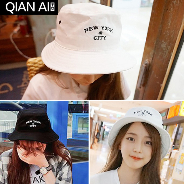Basin of south Korean hat embroidery street dance flat-topped fisherman hat shading cloth bucket hat