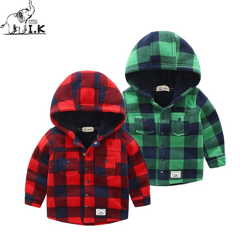 I.K Winter new arrival warm boys plaid shirts kids top plus velvet children clothing fleece long sleeve hoodies CC25024