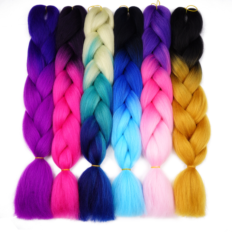 Silky Strands Ombre Jumbo Synthetic Braiding Hair Crochet Blonde Hair Extensions Jumbo Braids Hairstyles(China)