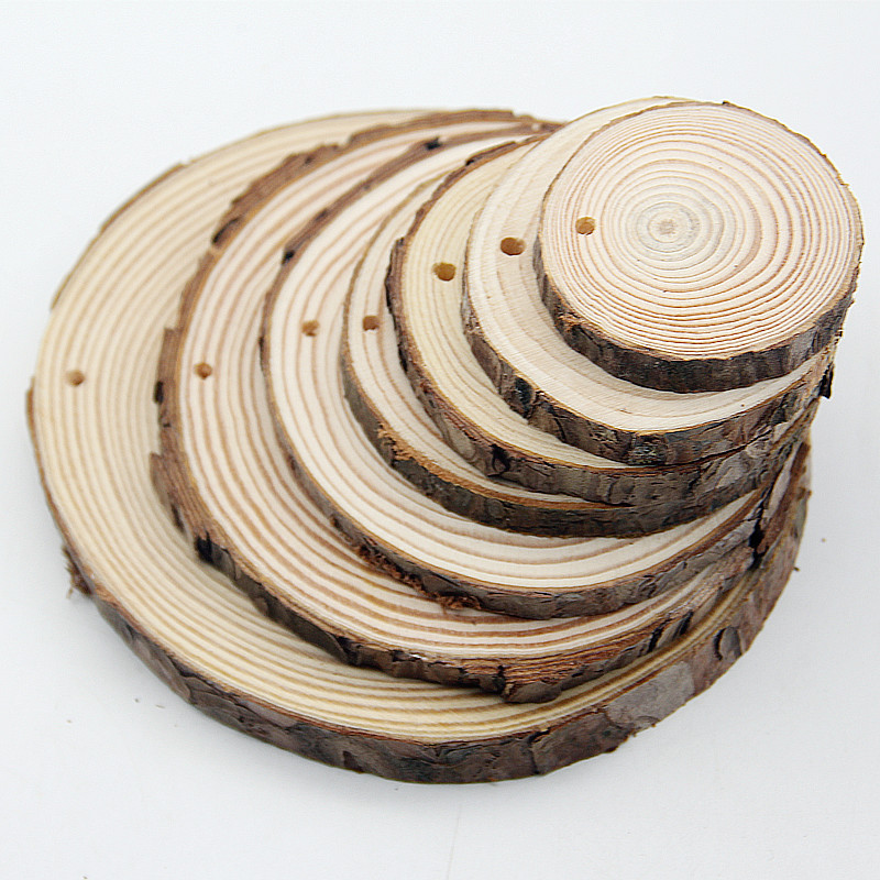 1pcs 5-15mm Unfinished Natural Cut Long Round Plate Wooden Chips Discs  Crafts Painting Decoration Slices Circles Ornament Gifts
