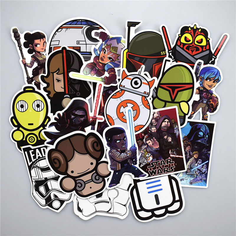 50 pcs star wars stickers for luggage laptop skateboard fridge biycle motorcycle car home decor deal cool waterproof sticker in stickers from toys