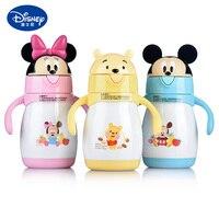 Disney bebê garrafa térmica de aço inoxidável copo de alimentação aprender beber copo com palha garrafa térmica vazamento-poof balão de vácuo