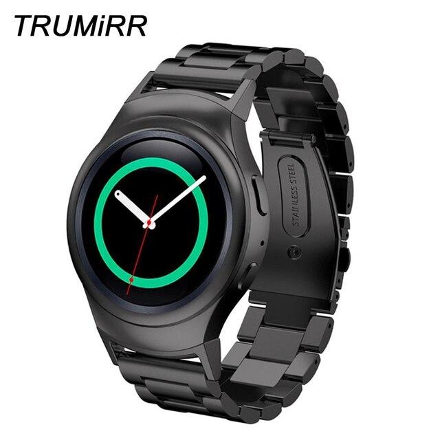 f237a29e08c Faixa de Relógio de Aço inoxidável Cinta Ponteiro para a Engrenagem Samsung  S2 SM-R720