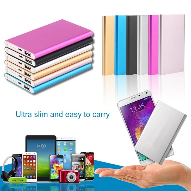 Ultra thin 18650 10000 mAh Power Bank Portable USB Battery Charger For iPhone 5 5s 6 7 8 for xiaomi Smart Cell Phones Includes