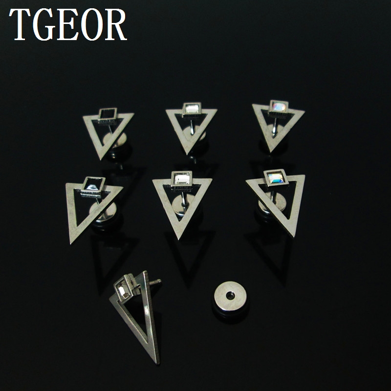High quality illusion cheaters 1 pair 1.2*6*6/(10*16)mm Stainless Steel gem crystal with triangle piercing fake plugs NICE image