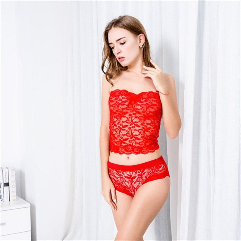 Sexy Lady Corset Lace Nightwear Lingerie Sets Translucent Strapless Bodycon Elegant Sleepwear Underwear Plus Size 5XL