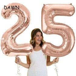 40 polegada rosa ouro prata folha de alumínio número balões grande dígito folha 0-9 aniversário festa de casamento decoração suprimentos chá de fraldas