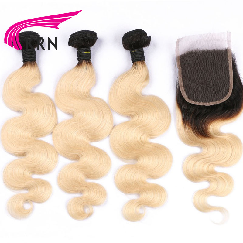 KRN 1B 613 Color Brazilian Human Hair 3 Pieces Bundles With Lace Closure Body Wave Hair Extension Full End Fast Shipping