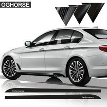 Gloss Black 2.05/2.15/2.3M M SPORT M Performance for BMW F30 F10 F01 3/5 Series 320i 520i E60 Side Skirt Stickers Decals for bmw e90 e92 e93 f20 f21 f30 f31 f32 f33 f34 f15 f10 f01 f11 f02 g30 m performance side skirt sill stripe body decals sticker