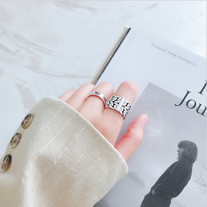 Retro Vintage Silver Color Big Rings for Women Engagement Jewelry Adjustable Finger Rings Anillos 2019 5