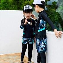 2020 Fashion rashguard kids swimwear big child two/three sun protection uv shirt+shorts+pants swim surf suit boy/girl 85 165CM