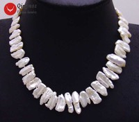 Qingmos Trendy Natural Pearl Necklace for Women with 12 15mm White Biwa Pearl Chokers Necklace Jewelry 17'' Nec6142 Free Ship