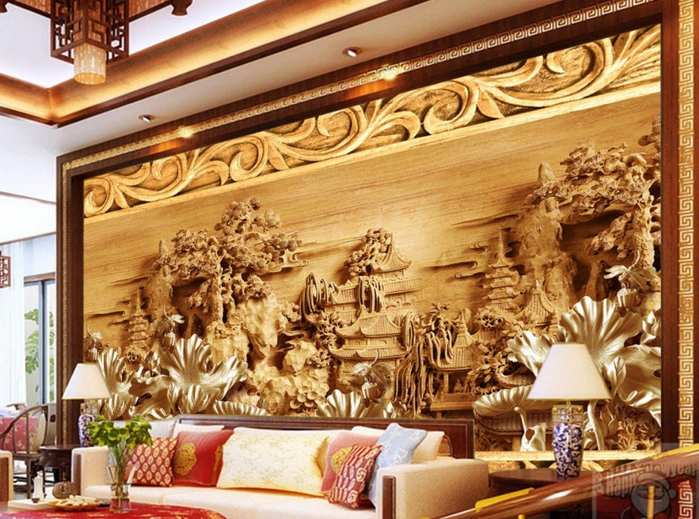 Custom photo murals 3d wallpaper lotus wood carvings for Custom photo mural