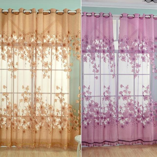 French Romantic Shining Embroidered Voile Curtains Yarn Tulle Sheer Panel  Window Home Textile Bedroom Curtains Tulle