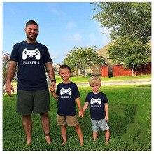 Jogador 1 jogador 2 correspondência camisas pai e filho correspondência jogos camisas playstation jogo remoto camisa pai e crianças casual t