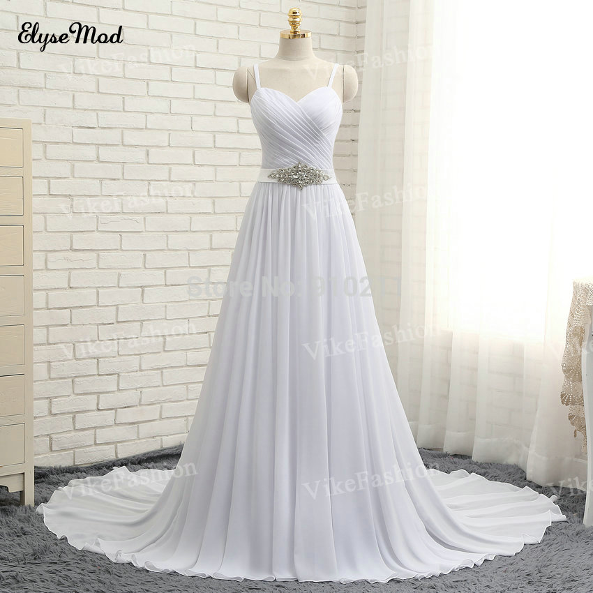 100% Sampel Sebenar Sexy Wedding Dresses tanpa lengan Chiffon Sweep Train Spaghetti Straps Beach Bridal Dresses